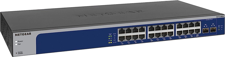 NETGEAR 24-Port 10G/Multi-Gigabit Smart Managed Plus Switch (XS724EM) - with 2 x 10G SFP+, Desktop/Rackmount, and ProSAFE Limited Lifetime Protection