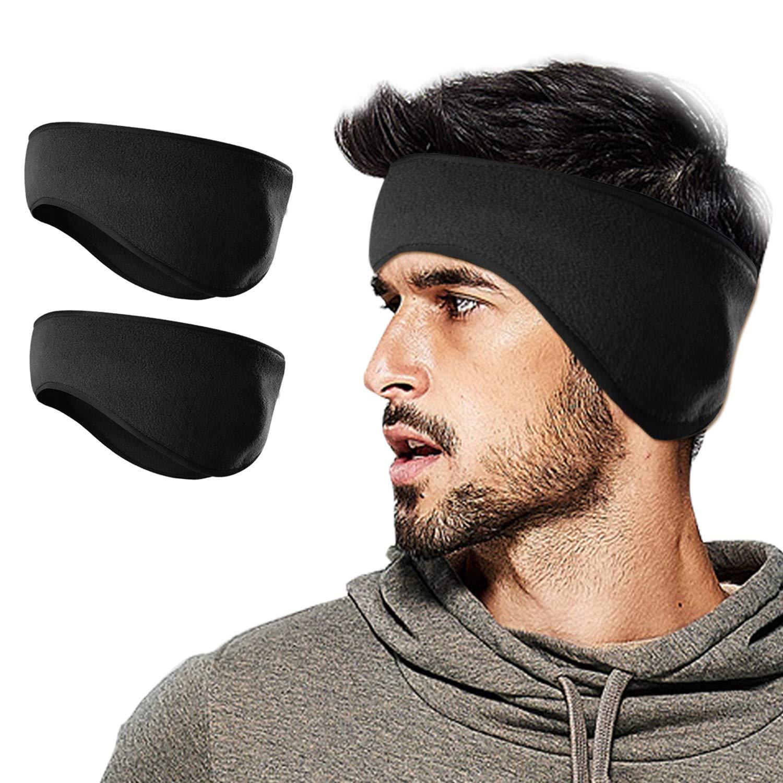 Winter Fleece Ear Warmers/Muffs Headband for Men Women, Running Skiing Riding (Non slip earwarmer headband- black+gray)