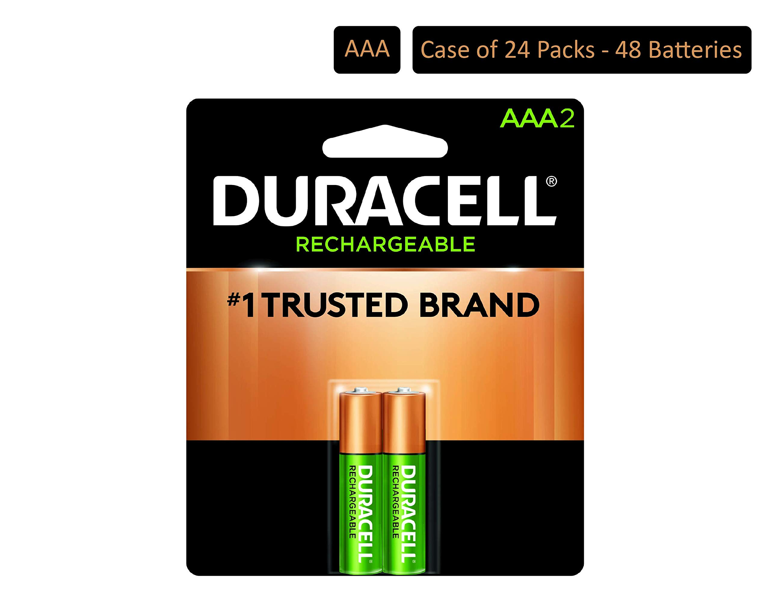 Duracell - Rechargeable AAA Batteries - long lasting, all-purpose Triple A battery for household and business - 2 count (Pack of 24) by Duracell