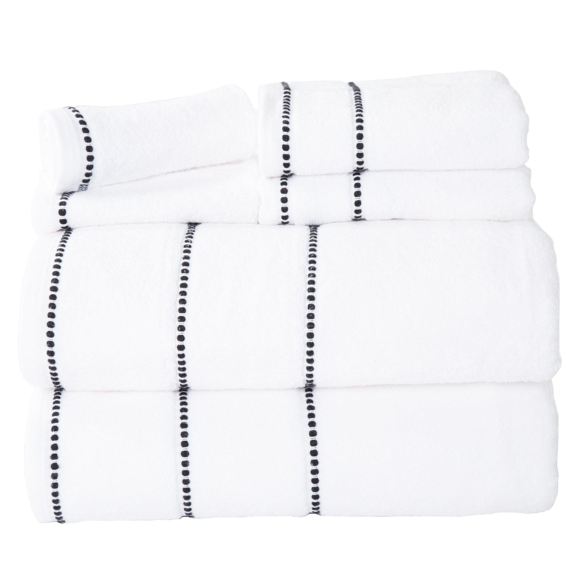 Bedford Home Quick Dry 100Percent Cotton Zero Twist 6Piece Towel Set - White