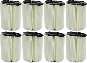 Ridgid VF4000 Genuine Replacement 1-Layer Everyday Dirt Wet/Dry Vac Filter for Ridgid 5-20 Gallon Vacuums (8 pack)