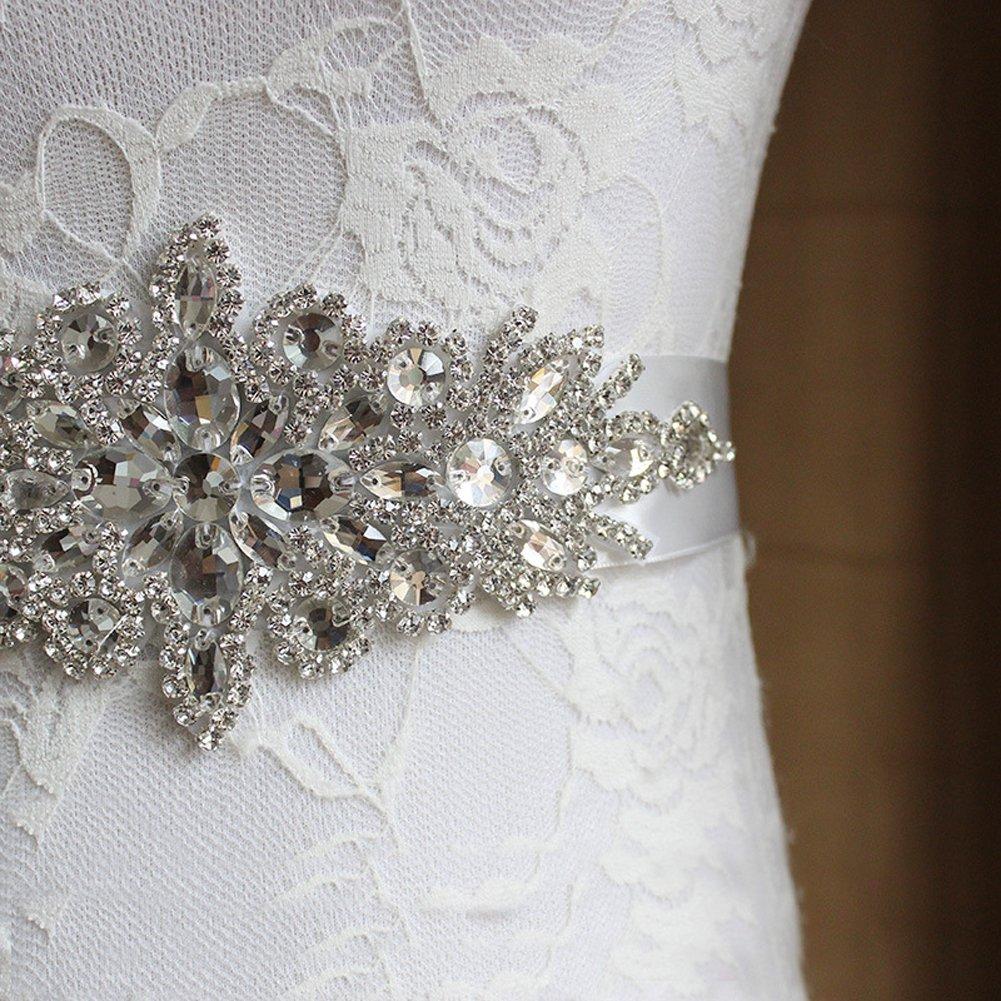E-Clover Rhinestone Ribbon Sash Belt for Bridal Women's Wedding Dress Belt (Off White) by E-Clover (Image #4)