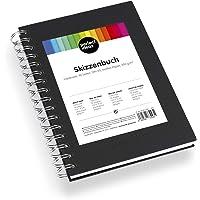 perfect ideaz DIN-A5-schetsboek 96 bladzijden (48 vellen), professionele tekenblok, hardcover in zwart, spiraalband met…