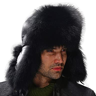686cec2c768 Fur Story Men s Trapper Hat with Real Fur Earmuffs Warm Winter Fur Hat with  Sheep Leather