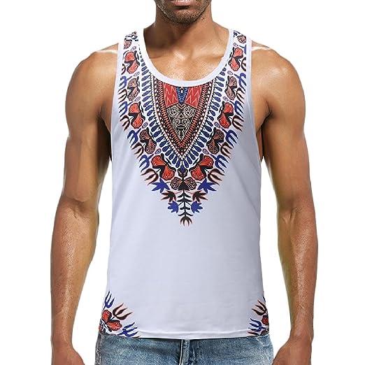 bfaabb3954e746 RDHOPE-Men Summer Basic Vogue African Dashiki Floral Tank Top T-Shirt As  Picture