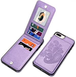 iPhone 8 Plus Case, iPhone 7 Plus Case for Women, SHIYISHI Embossed Flower PU Leather Wallet Case with Card Holder Flip Case for iPhone 6 Plus/iPhone 6s Plus/iPhone 8 Plus/iPhone 7 Plus, Purple