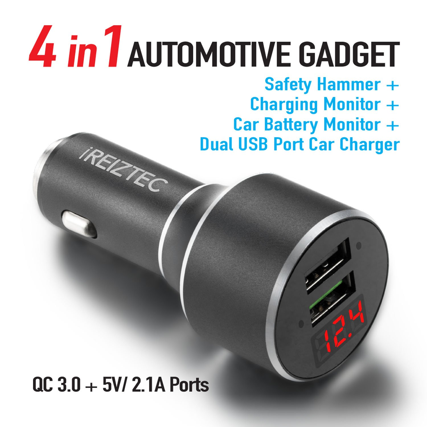 iREIZTEC 34W Dual USB Car Charger, w/Safety Hammer, QC 3.0 & 5V/2.1A Ports for iPhone X 8 7 6S 6 Plus, iPad Pro Air, Galaxy S9 S8 S7 S6 Edge Plus Note 8, LG G6 V10, Nexus Pixel & More (Black) RMC34W01