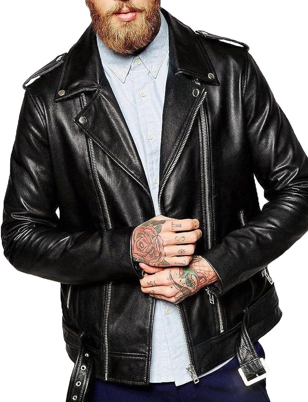Kingdom Leather New Genuine Cow Leather Designer Jacket Motorcycle Biker Mens S M L XL XC966