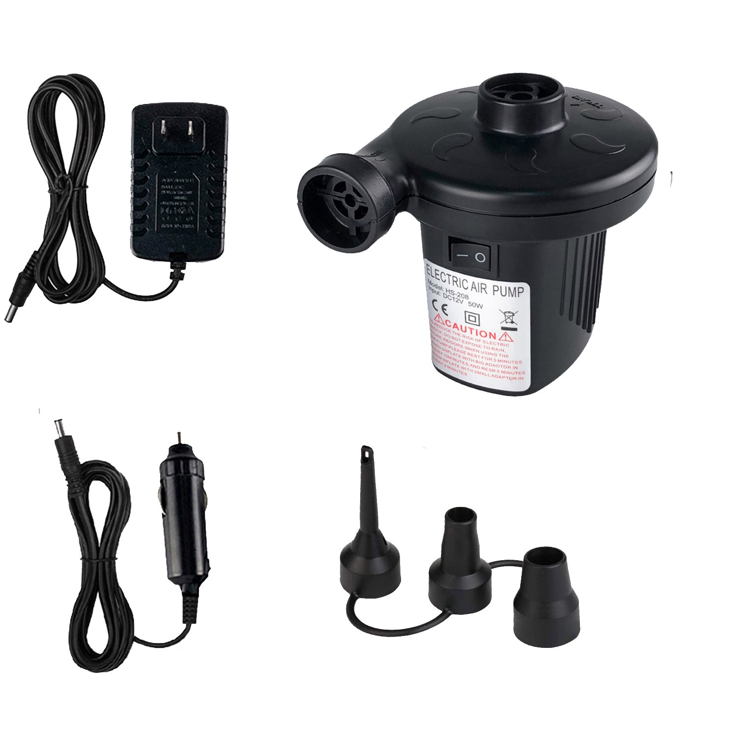 KUMEED Electric Air Pump, Quick-Fill Inflator for Camp Bed Mattress Rafts Pool Floats in 110V AC / 12V DC with Household and Vehicle Adapter, Compact Inflator Deflator with 3 Nozzles – Black
