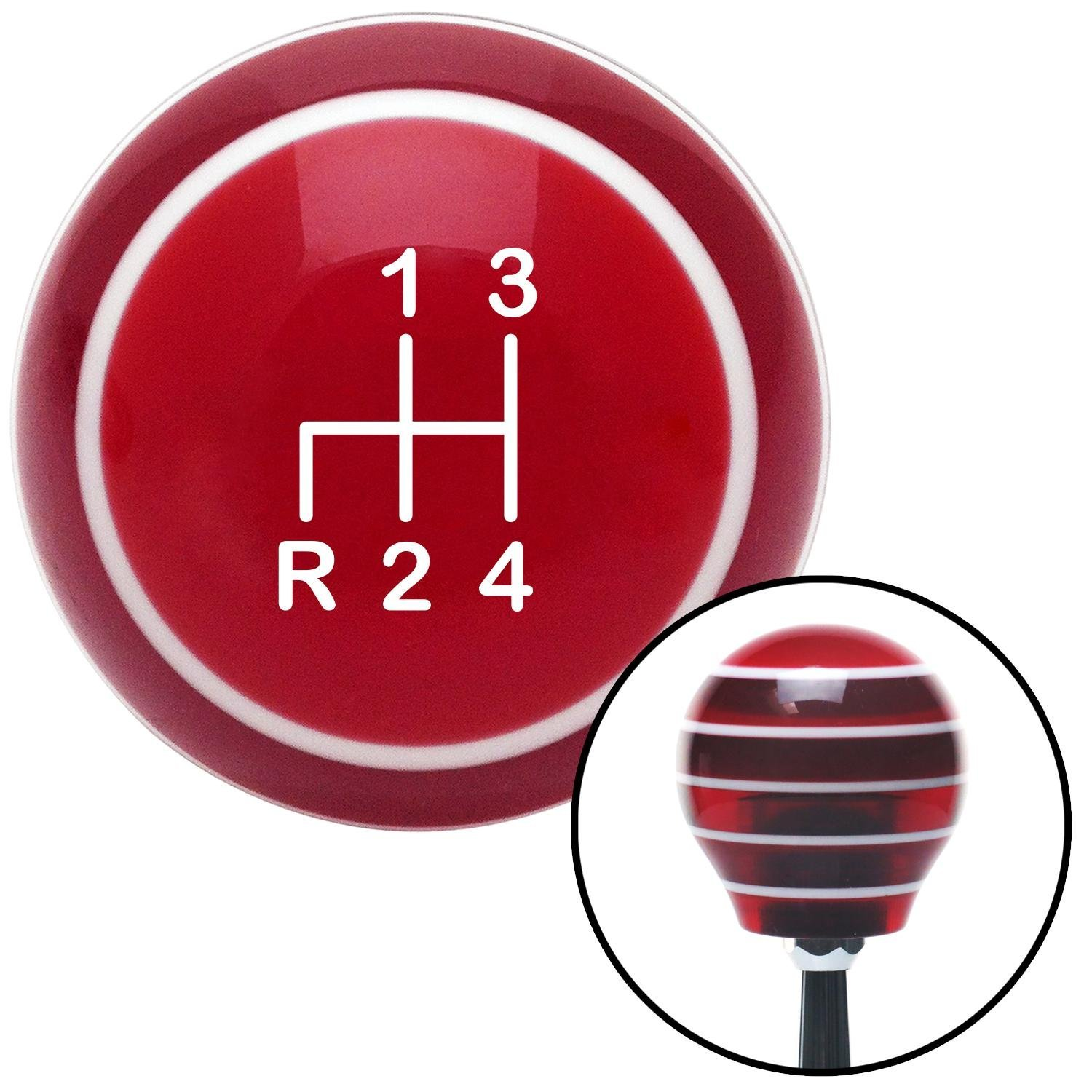 White Shift Pattern 4n American Shifter 117873 Red Stripe Shift Knob with M16 x 1.5 Insert