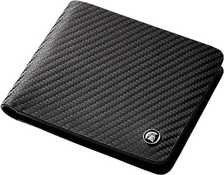 POWR - Cartera de Piel con Bloqueo RFID, de Fibra de Carbono, con Caja de Regalo (Negro): Amazon.es: Equipaje