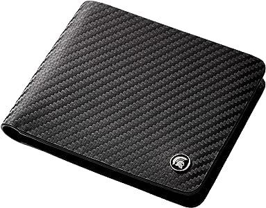 POWR - Cartera de Piel con Bloqueo RFID, de Fibra de Carbono, con Caja de Regalo (Negro)