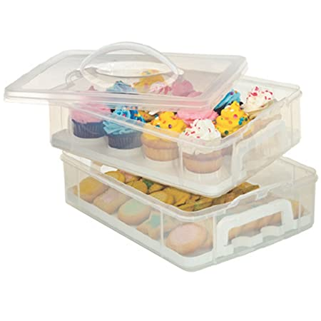 Gr8 Home 2 Tier Stackable Cupcake Carrier Box Muffin Cake Holder