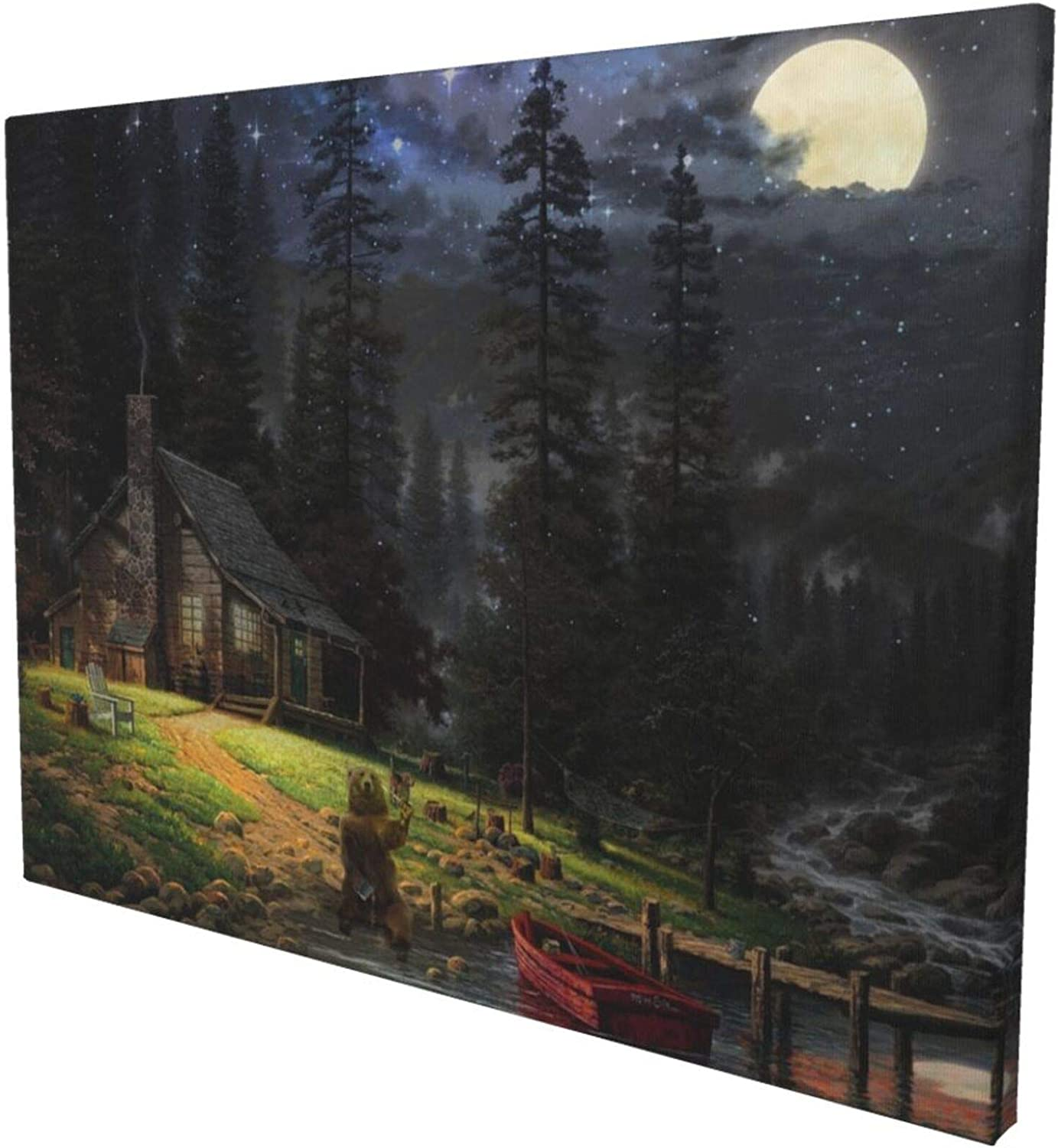 Ezyes Bear Canvas Wall Art,Creative Cute Animal Painting :The Solitary Bear In The Forest,Bears Brushing Their Teeth At Night Wall Art Decor Grizzly Bear For Bedroom Living Room Forest Canvas Artwork Cartoon Creative Oil Painting For Children'S Bedroom Wall Decoration Framed