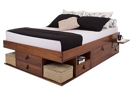 Funktionsbett Bali 160x200 - Bett mit viel Stauraum und Schubladen, optimal  für kleine Schlafzimmer - Modernes Stauraumbett aus Kiefer Massivholz - ...