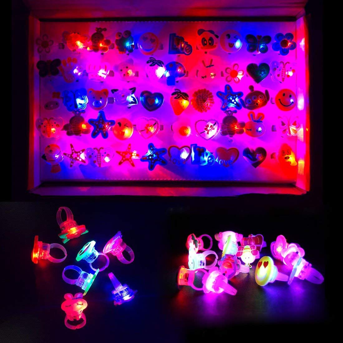 ChangSheng Glow Rings Led Party Supplies,50 Pcs Random Pattern Light Up Rings for Graduation Ceremonies, Birthday Parties and Parties by ChangSheng (Image #3)