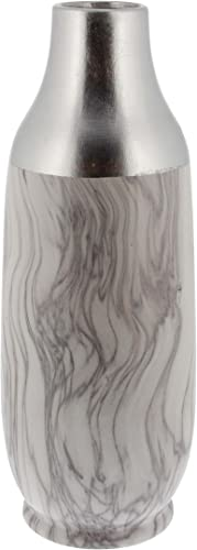 Deco 79 60753 Bottle-Shaped Ceramic Vase, 19 x 6 , Silver White Black