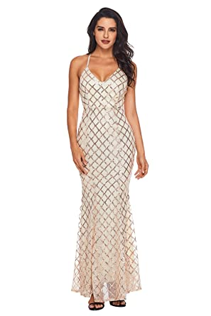 2515e24f2a23 JJ-GOGO Sequin Maxi Dresses - Black Gold Off Shoulder Crisscross Long  Fitted Evening Dress For Women - Pink -: Amazon.co.uk: Clothing