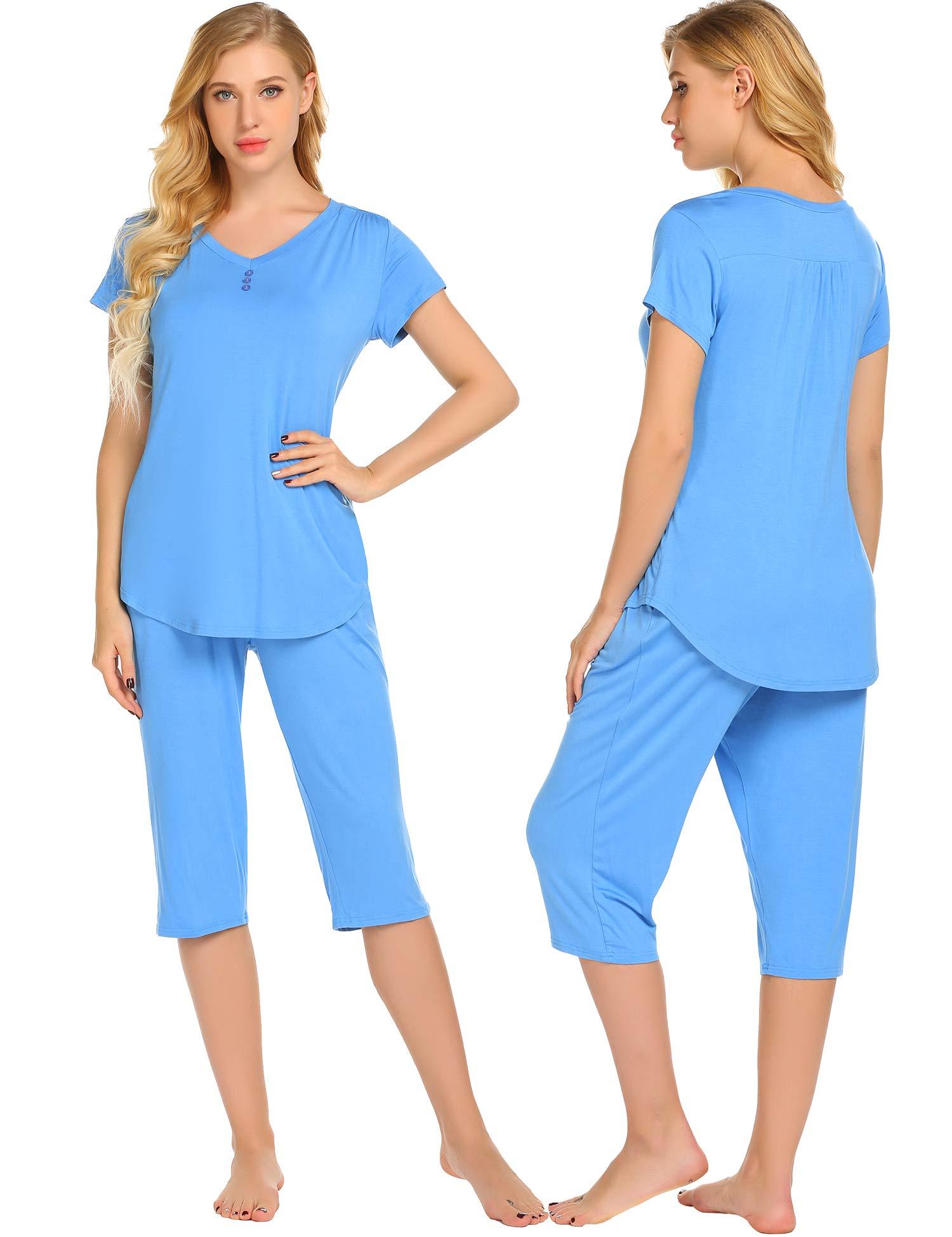 Ekouaer Plus Size Loungewear Women's Pjs Set Short Sleeve Top & Calf Length Pants Sleepwear Pajama Plus Size S-XXL