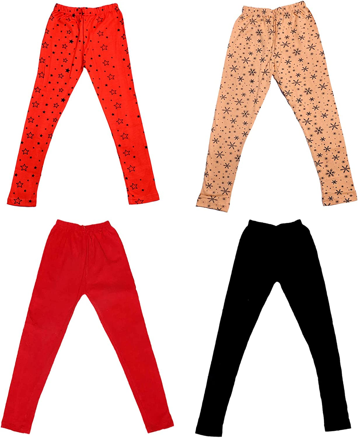Indistar Girls 2 Cotton Solid Legging Pants Pack Of 4 /_Multicolor/_Size-1-3 Years/_71404051619-IW-P4-22 and 2 Cotton Printed Legging Pants