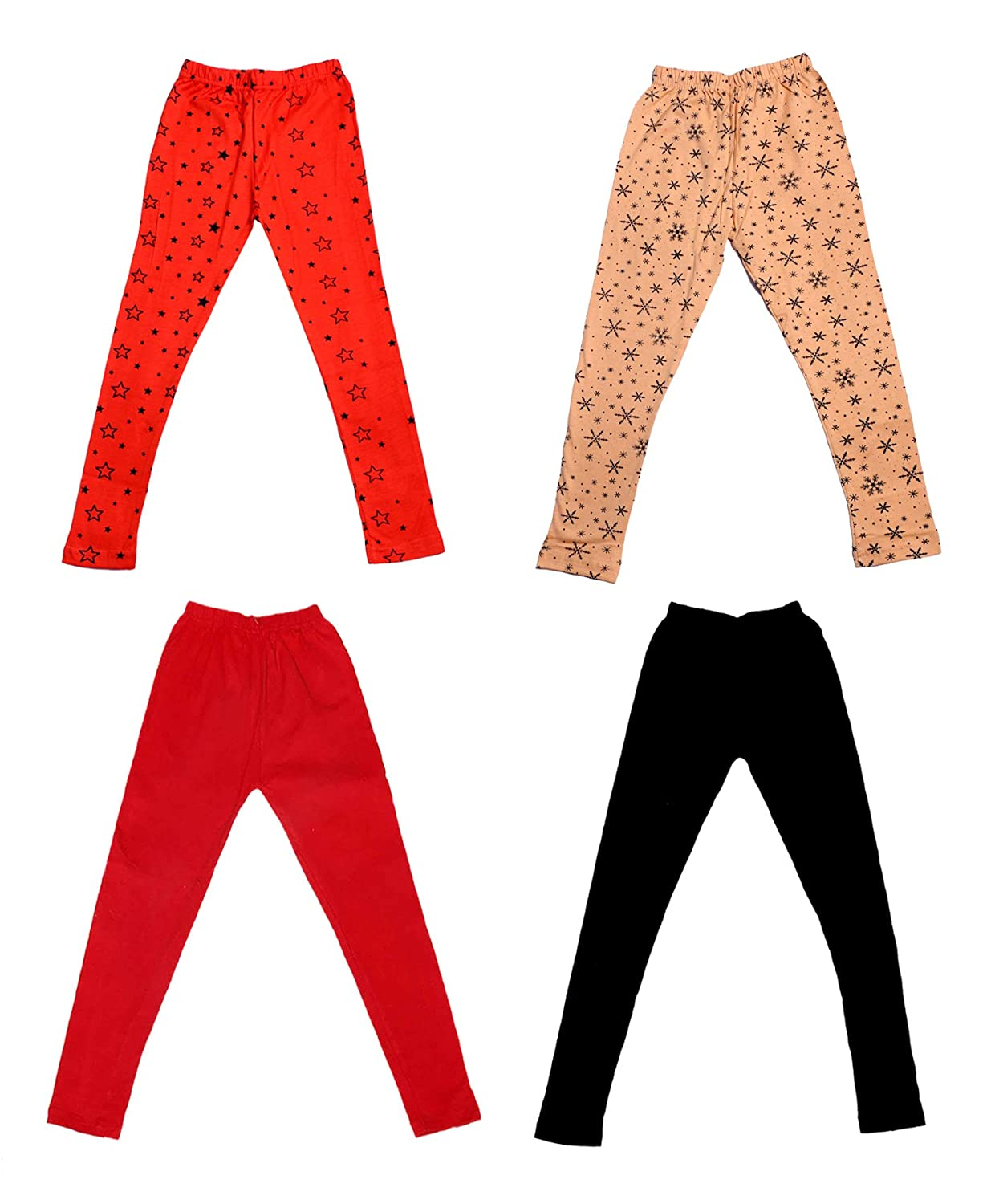 /_Multicolor/_Size-13-14 Years/_71404051619-IW-P4-36 Indistar Girls 2 Cotton Solid Legging Pants and 2 Cotton Printed Legging Pants Pack Of 4