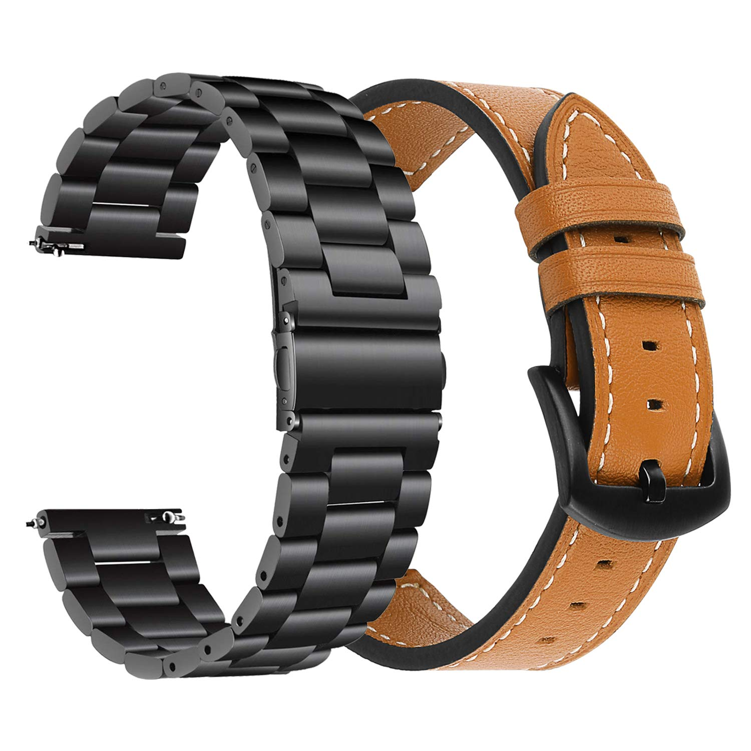 Gear S3/Galaxy Watch 46mm Bands, iWonow 22mm Quick Release Genuine Leather Watch Band Stainless Steel Strap Replacement for Samsung Gear S3 ...