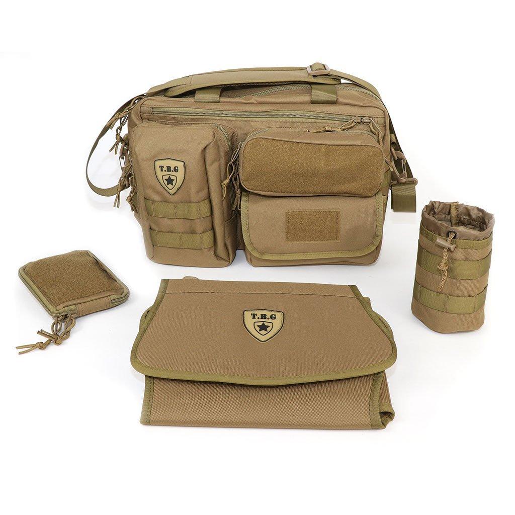Tactical Baby Gear Deuce 2.0 Tactical Diaper Bag Combo Set and Changing Mat (Coyote Brown)