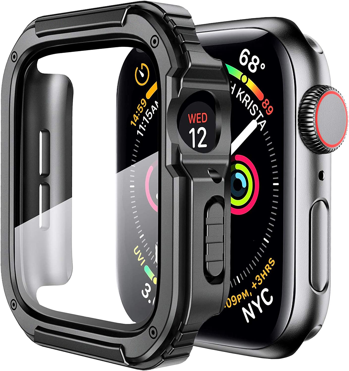 Mesime Rugged Case Compatible for Apple Watch Cover with Apple Watch Tempered Glass Screen Protector for 44mm iWatch Series 6 5 4 SE Protective Accessories Hard Case