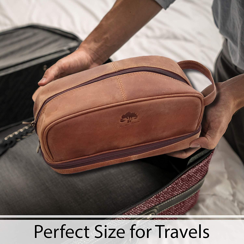 9a809342df Amazon.com   Genuine Leather Travel Cosmetic Bag - Hygiene Organizer Dopp  Kit By Rustic Town   Beauty