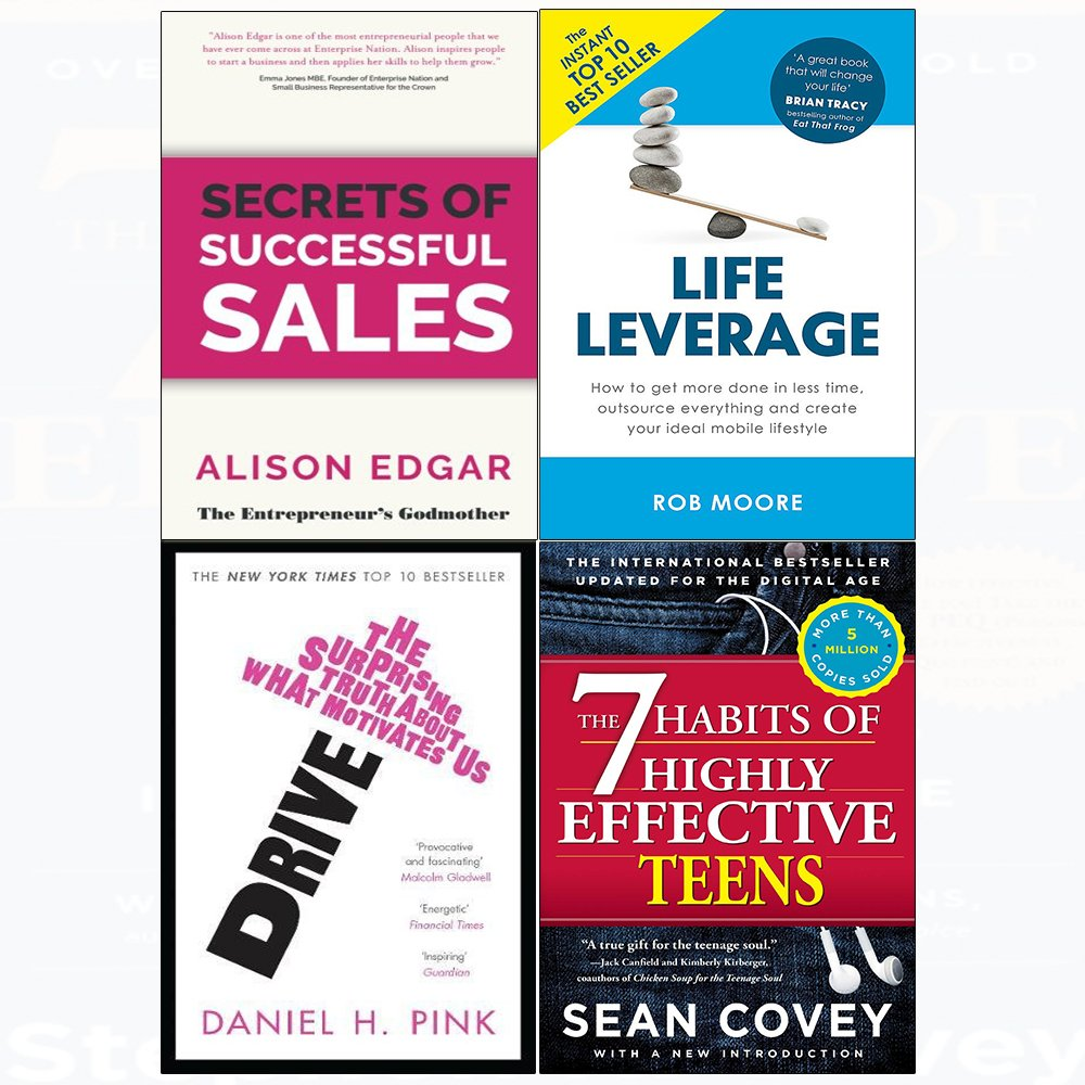 7 Habits of highly effective teens, secrets of successful sales, drive, life leverage 4 books collection set pdf