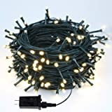 EEW 95FT 240LED Christmas Lights, Waterproof LED String Lights Indoor/Outdoor, 8 Mode Green Wire Clear Bulbs Twinkle Lights f