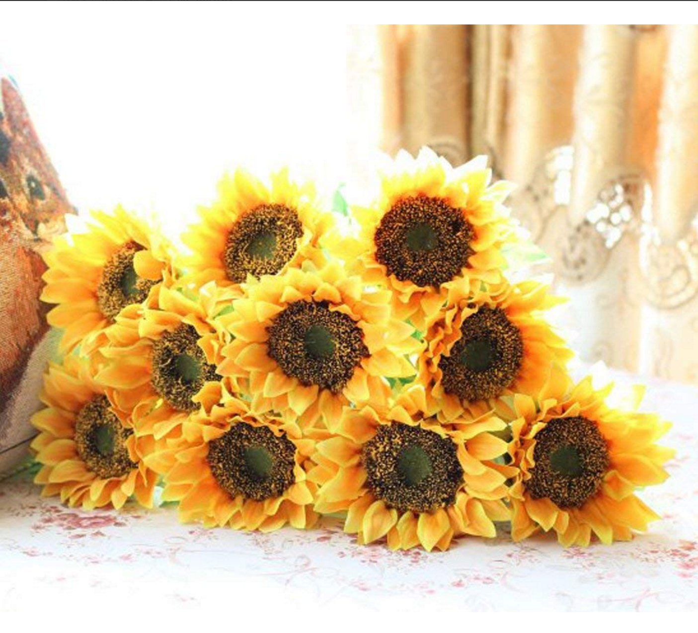 Amazon Elefan 24 Artificial Sunflower Bridal Wedding Bouquet