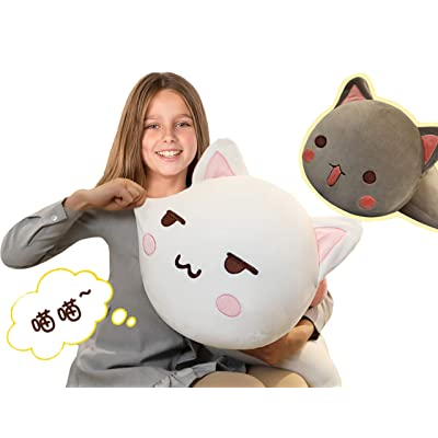 Cuddle Cat Plush Soft Kitty Body Pillow, 25.6Inch Large Fluffy Kitten Stuffed Animals Toy Sleeping Pillow Decor Gifts, White/Gray: Home & Kitchen