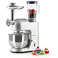 KLARSTEIN Lucia Rossa Food Processor • Stand Mixer • Mixing Machine • 650 Watts • 53 qt. Bowl • 1.3 qt. Mixing Glass • With Meat Mincer and Mixer Attachements • Adjustable Speed