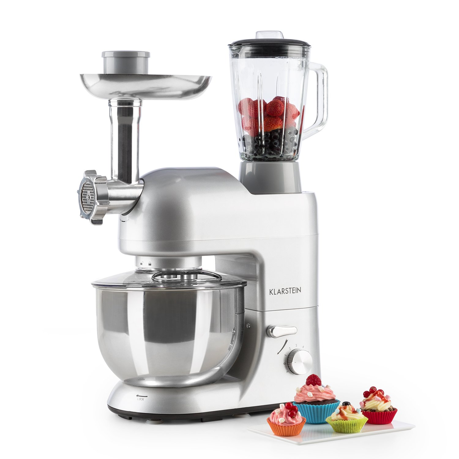 KLARSTEIN Lucia Argentea Food Processor • Stand Mixer • Mixing Machine • 800 W • 1.6 HP • 5.3 qt. Bowl • 1.3 qt. Mixing Glass • With Meat Mincer and Mixer Attachements • Adjustable Speed • Silver