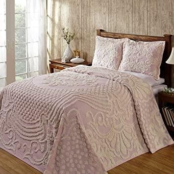 Amazoncom Chenille Bedspread Light Pink King Faded Tufted Cotton