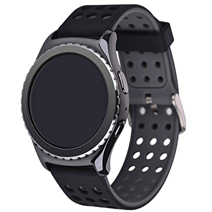 Greatfine Reloj Smart Watch 22mm Silicona Banda de Reloj de la Correa de para Gear 2 Moto 360 2nd/Pebble Time/LG G Watch (Black Grey)