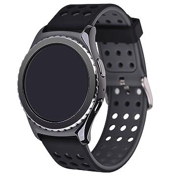 Greatfine Reloj Smart Watch 22mm Silicona Banda de Reloj de la Correa de para Gear 2 Moto 360 2nd/Pebble Time/LG G Watch (Black Grey)
