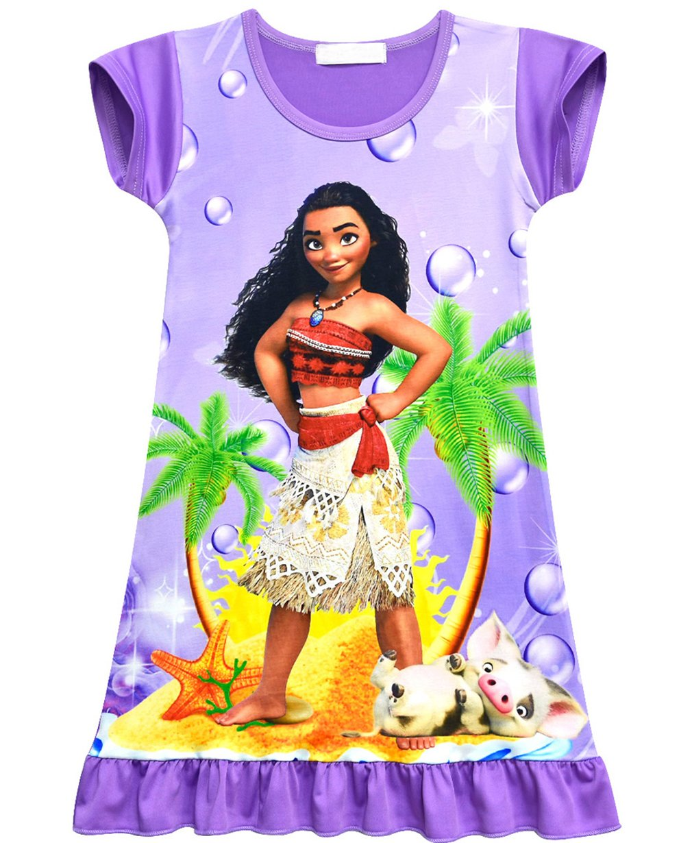 ZHBNN Moana Girls Nightgown Cartoon Pajamas Princess Dress(Purple,110/4-5Y) by ZHBNN (Image #1)