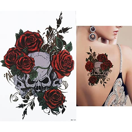 UNISEX TATUAJES Cráneo y Rosas Tatuajes temporales tatuaje del ...