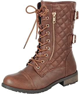 Women's Quilted Lace-Up Moto Chunky Stacked Heel Mid-Calf Boot