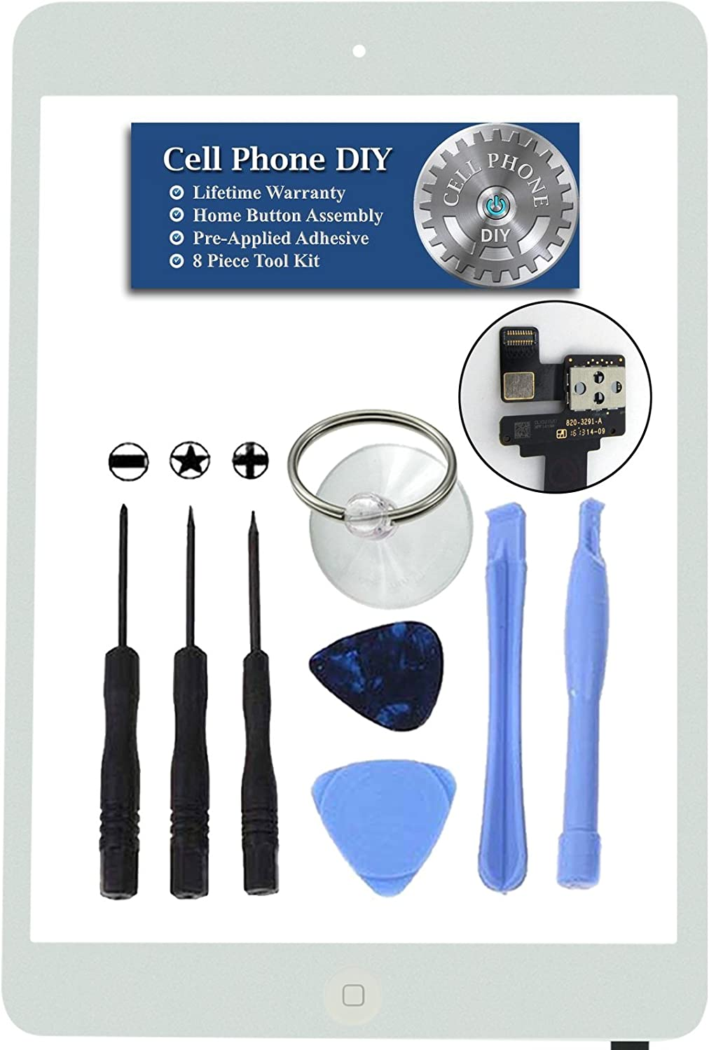Pre-Installed Adhesive with Tools Includes Home Button Camera Holder Repair Kit by Cell Phone DIY White iPad 3 Digitizer Replacement Screen Front Touch Glass Assembly Replacement