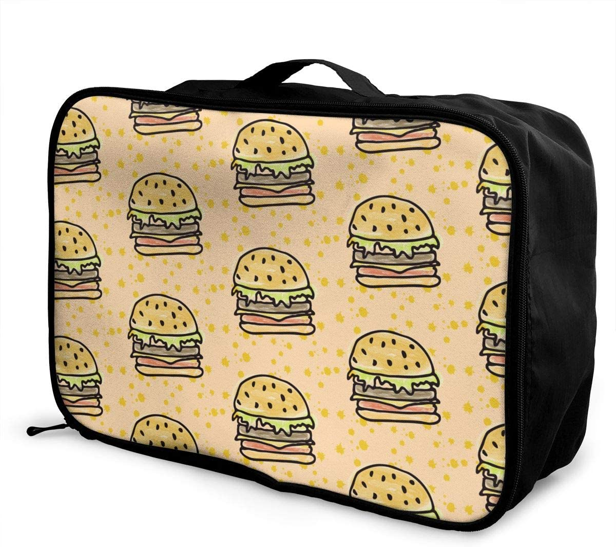 Anime Hamburger Travel Carry-on Luggage Weekender Bag Overnight Tote Flight Duffel In Trolley Handle