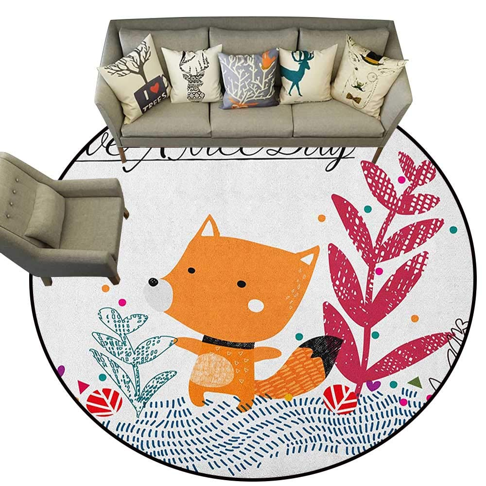 Style05 Diameter 48(inch& xFF09; Fox,Personalized Floor mats Doodle Forest Animal in Various Poses Sleeping Sitting with Heart Background D54 Floor Mat Entrance Doormat