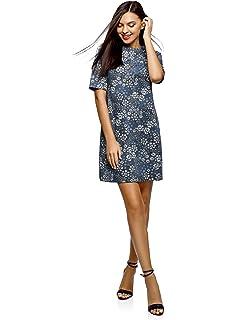 oodji Collection Mujer Vestido Recto de Tejido Texturizado: Amazon.es: Ropa y accesorios
