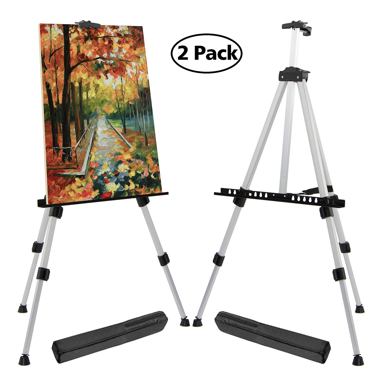 T-Sign 66'' Reinforced Artist Easel Stand, Extra Thick Aluminum Metal Tripod Display Easel 21'' to 66'' Adjustable Height with Portable Bag for Floor/Table-Top Drawing and Displaying, 2 Pack