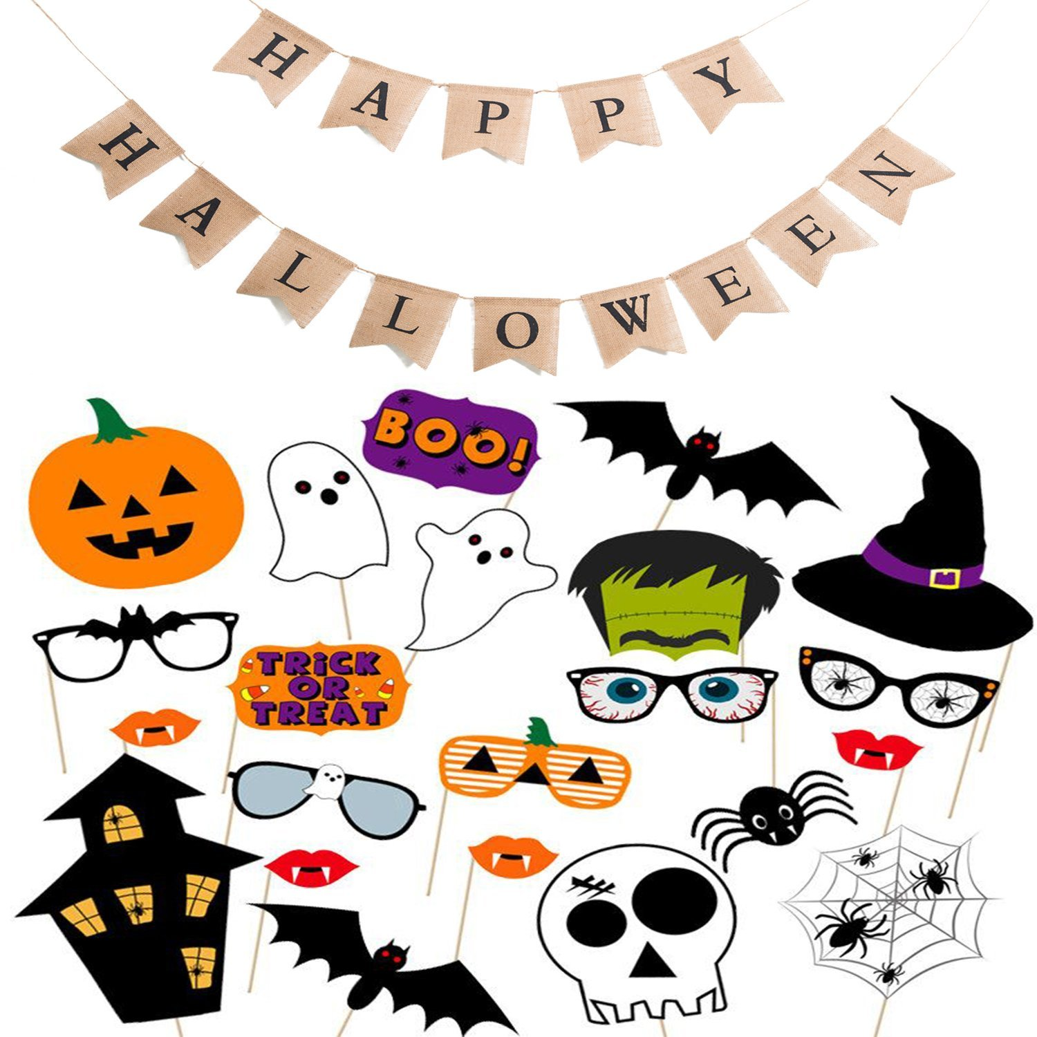 Scafiv One Set Happy Halloween Burlap Banner with 22 Pieces Assorted Halloween Photo Booth Props for Halloween Party Supplies Decoration