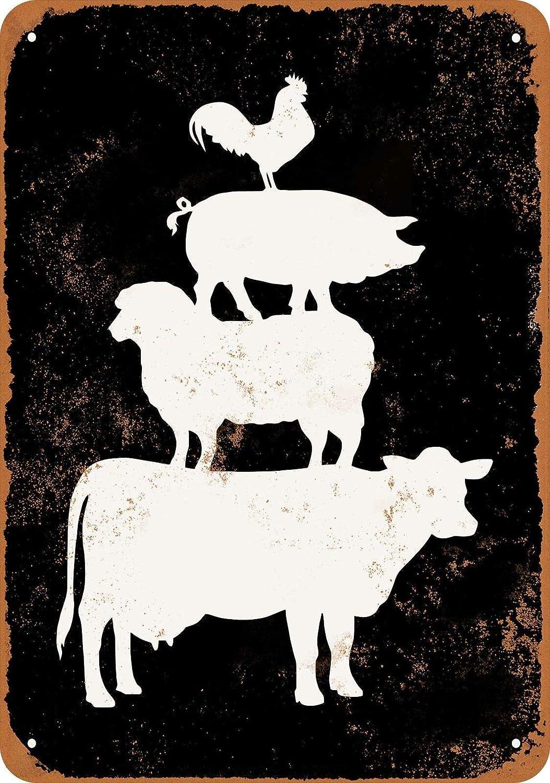 Farm Animals Cow Sheep Pig Chicken Rustic Retro Fashion Chic Metal Tin Sign Garage Vintage Garden House Wall Decor 12X8 Inch