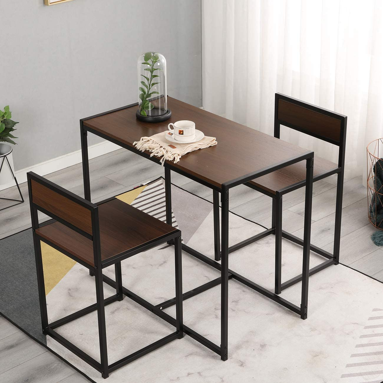 Sogeshome 3 Piece Dining Table And Chairs Dining Set Bar Set For 2 Dining Table For Dining Room Bistro Set Brown Nsdca Ld Ct01wnt Amazon Ca Home Kitchen