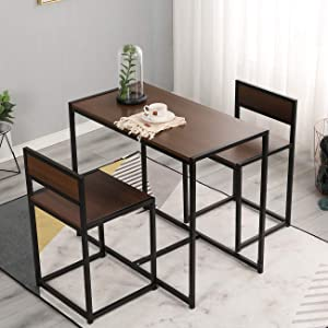DlandHome 3 Piece Dining Room Table and Chairs, Nesting Style Kitchen Coffee Table Set, Versatile/Tall/Modern Table Set, LD-CT01WNT